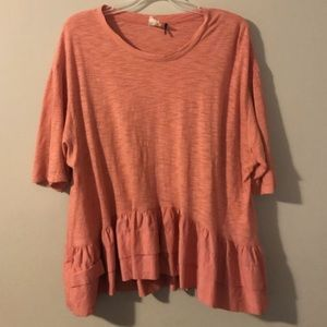 Pink top from Anthropologie.